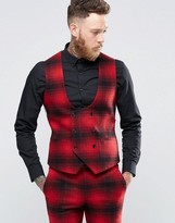 Noose & Monkey Skinny Db Waistcoat In Ombre Check
