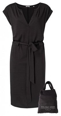 Ya-Ya Jersey Belted Dress with Short Sleeves - XS (UK 8)   black   cotton - Black/Black