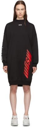MSGM Black Fleece Multi Logo Dress