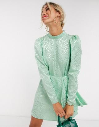 ASOS DESIGN high neck jacquard mini dress in sage green