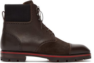 Christian Louboutin Citycroc Leather And Suede Lace-up Boots - Brown