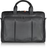 Giorgio Fedon Web File 2 Black Leather and Nylon Men's Briefcase