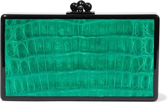 Edie Parker Faux Snake-effect Leather-paneled Acrylic Box Clutch