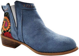 Winter Bear Women's Casual boots BLUE - Blue Floral-Embroidered Bootie - Women