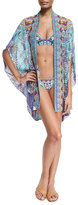 Camilla Open-Front Embellished Silk Cardigan/Cape Coverup, Divinity Dance