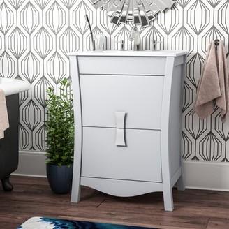 """Ebern Designs Karter Modern Wood Floor Mount 24"""" Single Bathroom Vanity Set"""