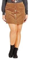 City Chic 'Miss Mod' Button Front Miniskirt (Plus Size)