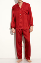 Majestic International Men's Herringbone Stripe Silk Pajamas