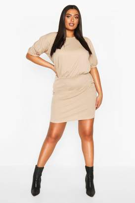 boohoo Plus Soft Rib Puff Sleeve Blouson Mini Dress