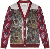 Gucci Tiger intarsia viscose lurex cardigan