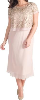 Chesca Trellis Applique Lace And Chiffon Dress, Blush