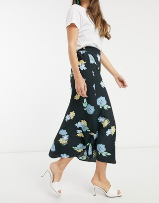 Glamorous midi skirt in bold floral