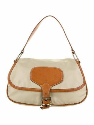 Prada Leather-Trimmed Tessuto Soft Hobo Beige