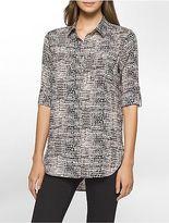 Calvin Klein Womens Animal Roll-Up Sleeve Tunic Shirt