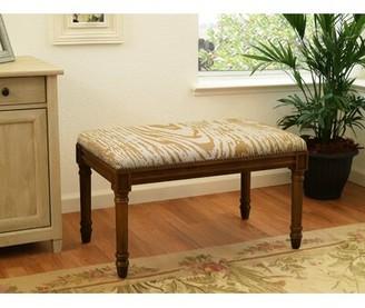House of Hampton Verner Wood Bench Color/Pattern: Wood Stain/Beige/Animal Print