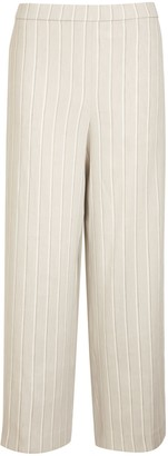 Theory Pull On Striped Linen Blend Trousers, Grey/Multi