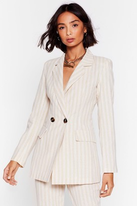 Nasty Gal Womens Stripe Time and Place Linen Double Breasted Blazer - Beige - S