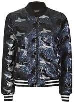 Camo sequin bomber jacket