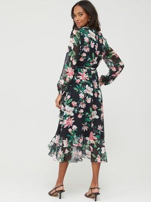 Wallis Waterlily Tiered Hem Midi Dress - Black