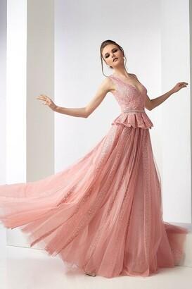 Gatti Nolli by Marwan Morag Sleeveless Peplum Tulle Gown
