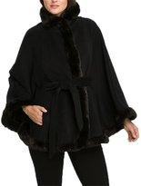 Angel&Lily Women Faux Fur Trimmed Cape TOP COAT NC2 PLUS