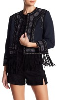Haute Hippie Leather Trim Embellished Fringe Coat