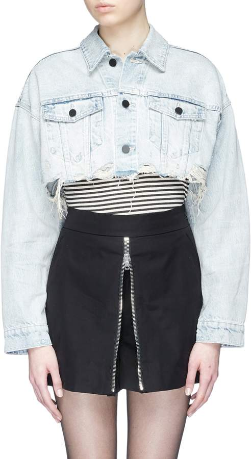 Alexander Wang Raw hem cropped denim jacket
