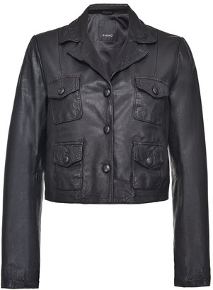 Pinko Pocket-Detail Leather Jacket
