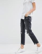 Daisy Street Distressed Boyfriend Jeans With Raw Hems