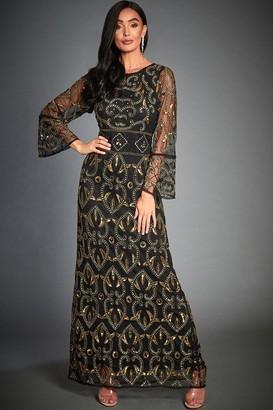 Jywal London Rose Black & Gold Embellished Evening Maxi Dress