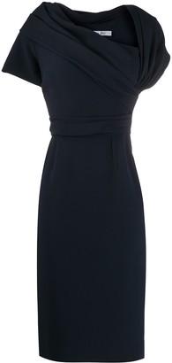 Christian Dior 2000s Pre-Owned Asymmetric Collar Knee-Length Dress