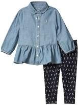 Polo Ralph Lauren Chambray Top Leggings Set (Infant) (Indigo) Girl's Active Sets
