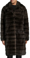 Oscar de la Renta Sable-Fur Stroller Coat, Brown