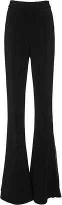 Cushnie Chiffon-Trimmed Cady Flared-Leg Trousers