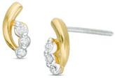 Zales Diamond Accent Three Stone Stud Earrings in 10K Gold