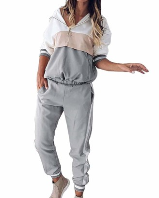 Onsoyours Womens Loungewear Full Tracksuit Set 2 Pieces Long Sleeve Sweatshirt Hoodies Ladies Top and Jogger Pants Sports Suits A Grey 14