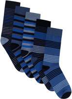 Yours Clothing BadRhino Blue Striped 5 Pack Socks