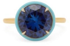 Alison Lou Lab-sapphire, Enamel & 14kt Gold Ring - Blue
