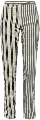 Ann Demeulemeester Striped Crinkled Cotton And Ramie-blend Twill Tapered Pants