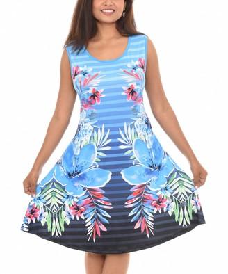 Shoreline Women's Casual Dresses BLUE - Blue Floral Stripe Sleeveless A-Line Dress - Women & Plus