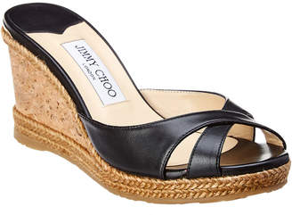 Jimmy Choo Almer 80 Leather Wedge Sandal