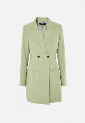 Missguided Green Tortoise Shell Button Blazer Dress