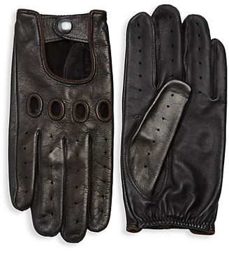 Saks Fifth Avenue Perforated Leather Driver Gloves