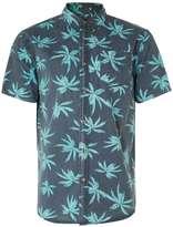 Globe Navy And Turquoise Leaf Print Short Sleeve Shirt*