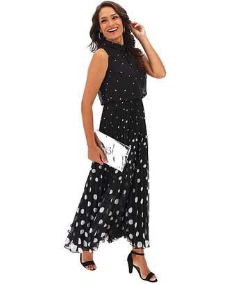 Jd Williams Black Polka Dot Pleat Maxi Dress