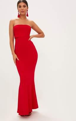 PrettyLittleThing Red Bandeau Frill Hem Maxi Dress