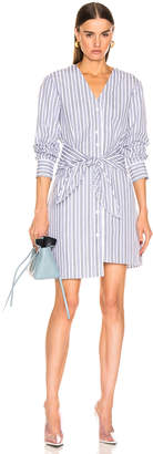 Tibi Liam Stripe V-Neck Shirtdress in Blue Multi | FWRD
