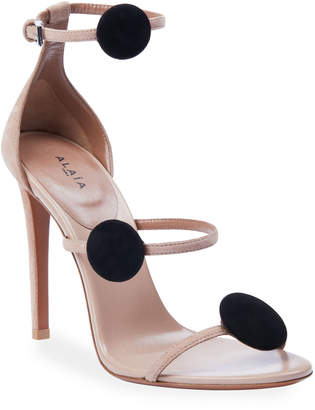 Alaia 105mm Suede Dot 3-Strap Heeled Sandals