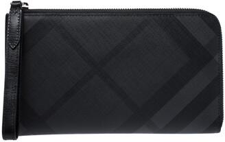 Burberry Black Coated Canvas Zip Around Wristlet Wallet