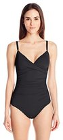 Calvin Klein Women's Twist One-Piece Swimsuit with Sewn-In Cups and Tummy Control